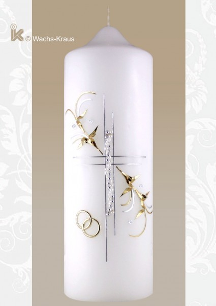 Hochzeitskerze in edlem Silber und zartem Flieder
