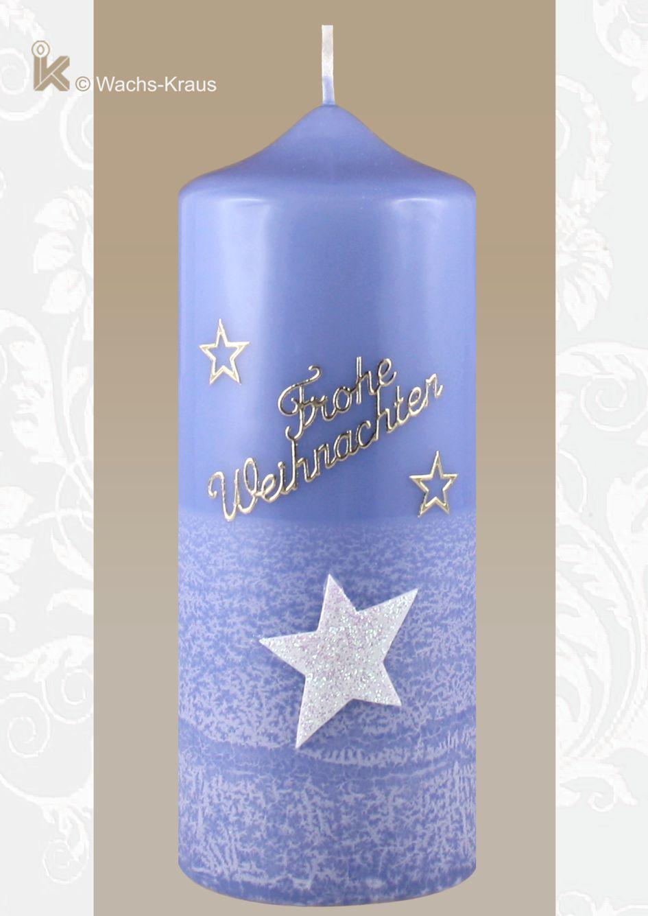 Weihnachtskerze Stern blau in reiner Handarbeit verziert