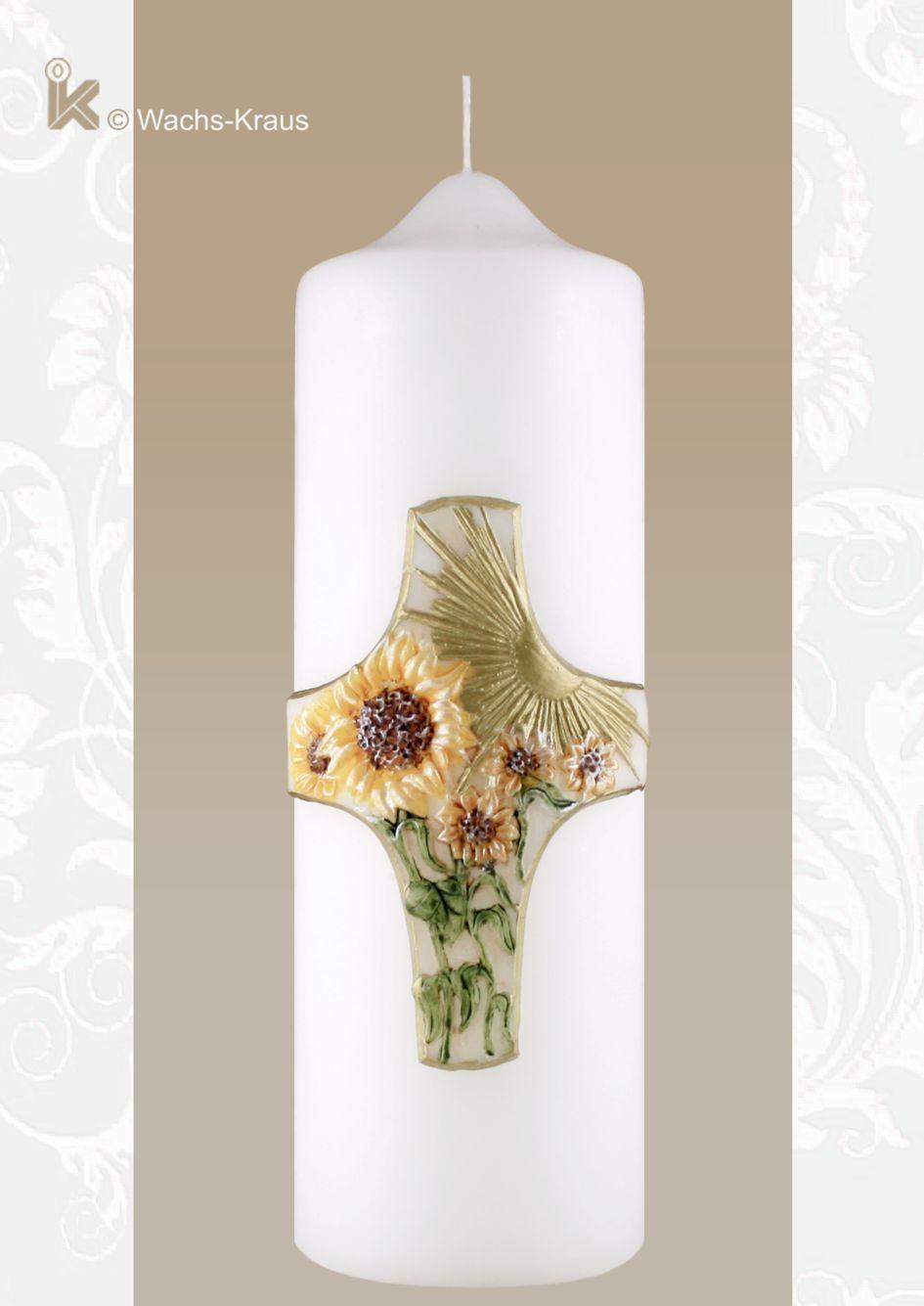 Trauerkerze Sonnenblume & Kreuz