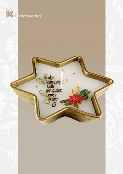 Weihnachtskerze in einem Messing-Stern, bemalt