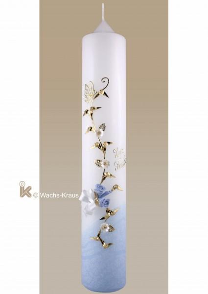 Taufkerze Schmetterling, Jung, gold und blau