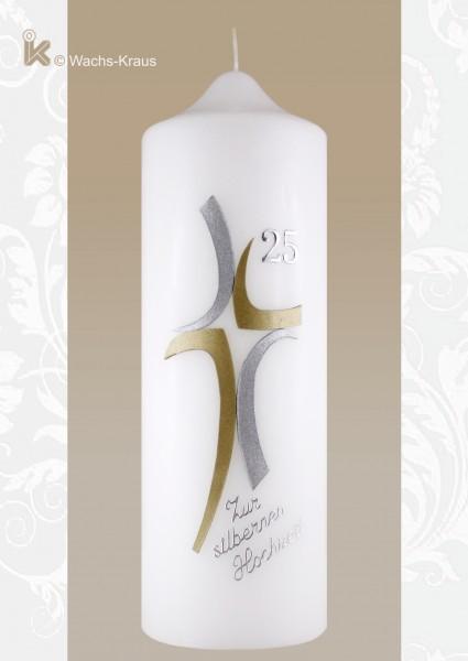Moderne Kerze zur Silberhochzeit. Eine Kerze für junge Jubilare zu einem vernünftigen Preis.