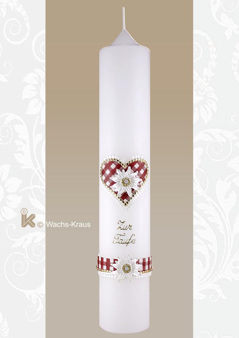 Eine besondere Taufkerze: rot kariertes Herz  sowie eine aus Wachs gegossene Edelweißblüte.