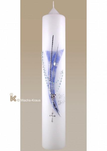 Moderne Taufkerze für einen Jungen, silber-blau mit Rosenkranz