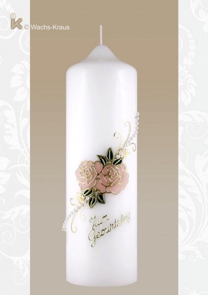 Günstige Kerze zum Geburtstag, Rosen Motiv mit Perlenkette und Schriftzug