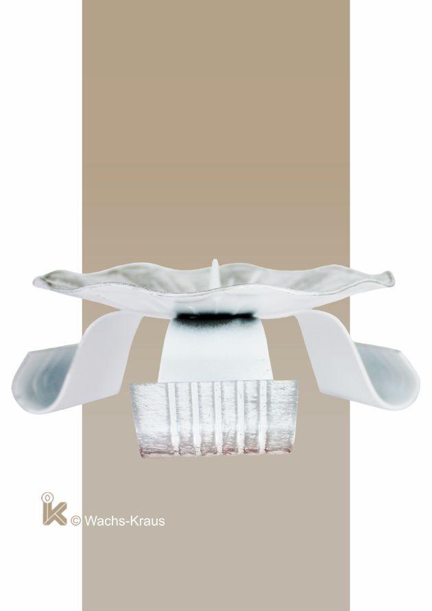 Kerzenhalter Metall, Durchmesser 120 mm, weiß-silber, seitlich