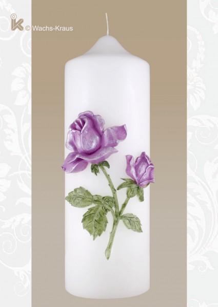 Hochzeitskerze Rose fliederfarben, aus Wachs gegossen und fein bemalt