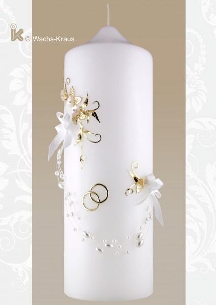 Hochzeitskerze elegant, apricot-Blüten, goldene Ranke, Perlenschnur