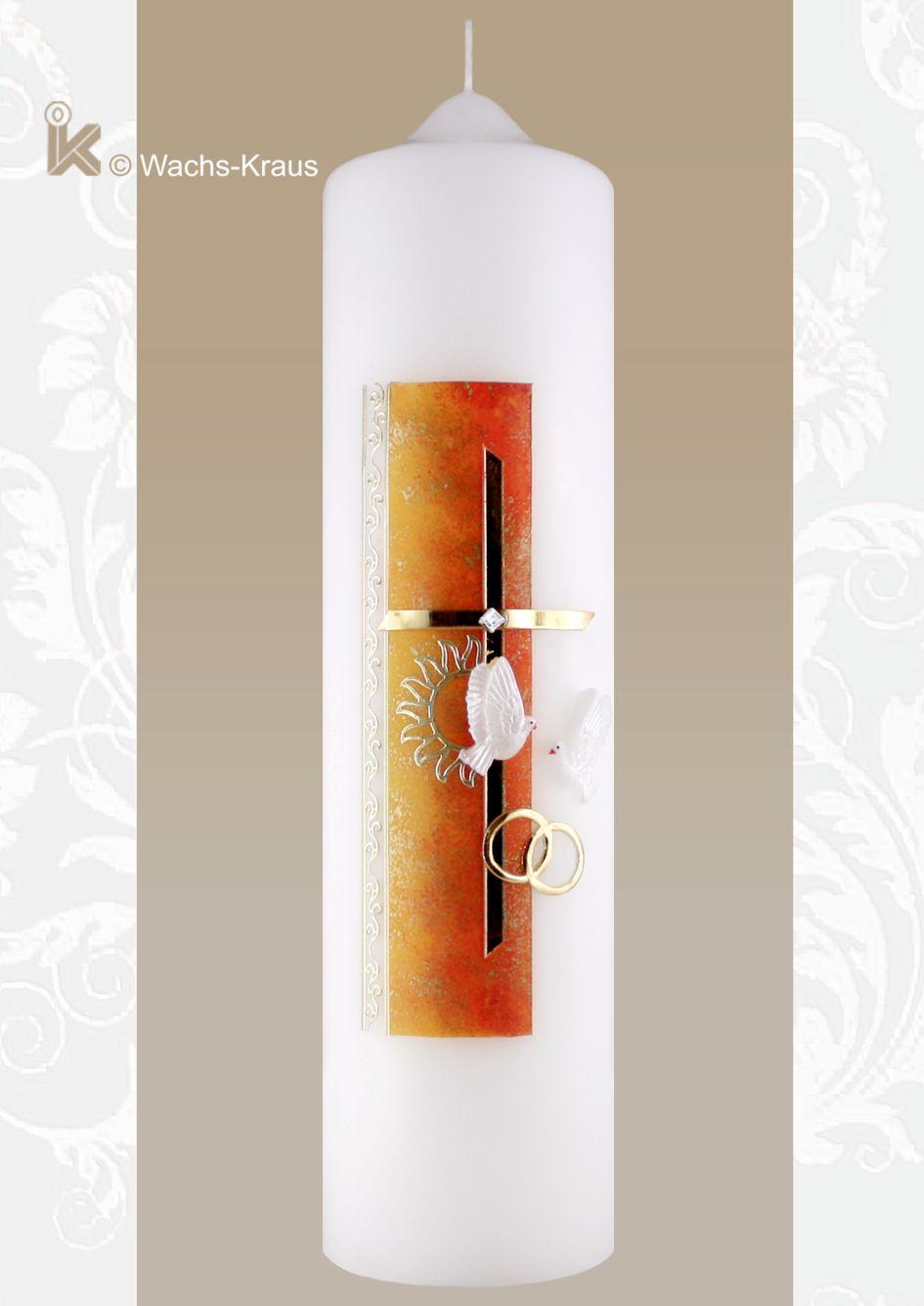 Moderne Hochzeitskerze, Sonne orange strahlt soviel positives aus, die reine Lust auf die Zukunft, die man nun zusammen mit dem Partner erleben will.