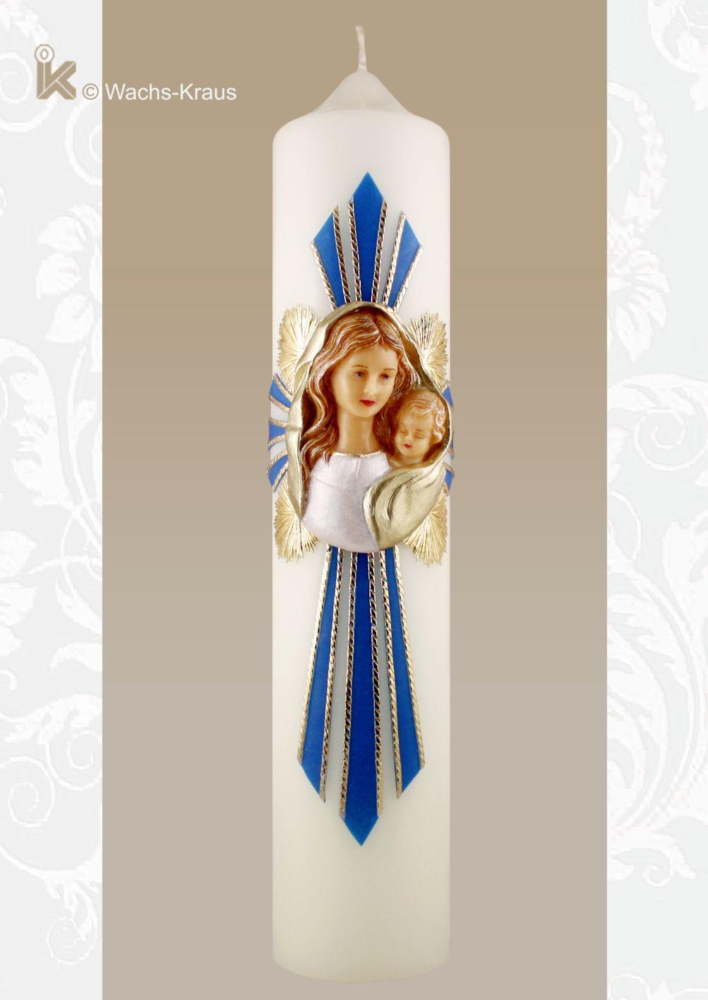 Marienkerze Madonna im Strahlenkreuz. Wunderschön modellierte Maria mit Kind gerahmt durch ein Blau-Goldenes Strahlenkreuz.