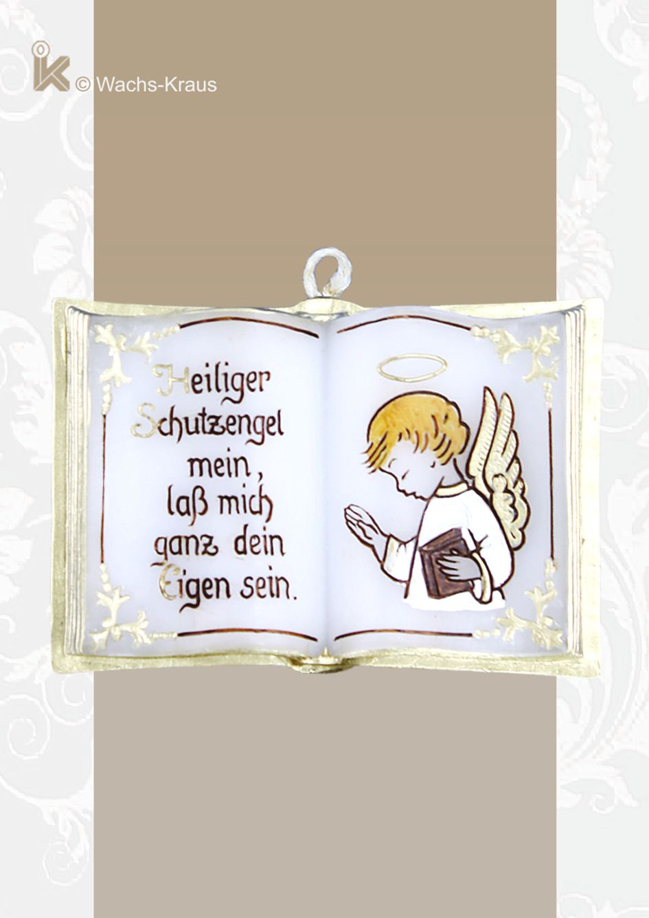 Kleines Wachsbuch mit einer Schutzengel-Abbildung und dem Gebet: Heiliger Schutzengel mein, lass mich ganz dein Eigen sein.