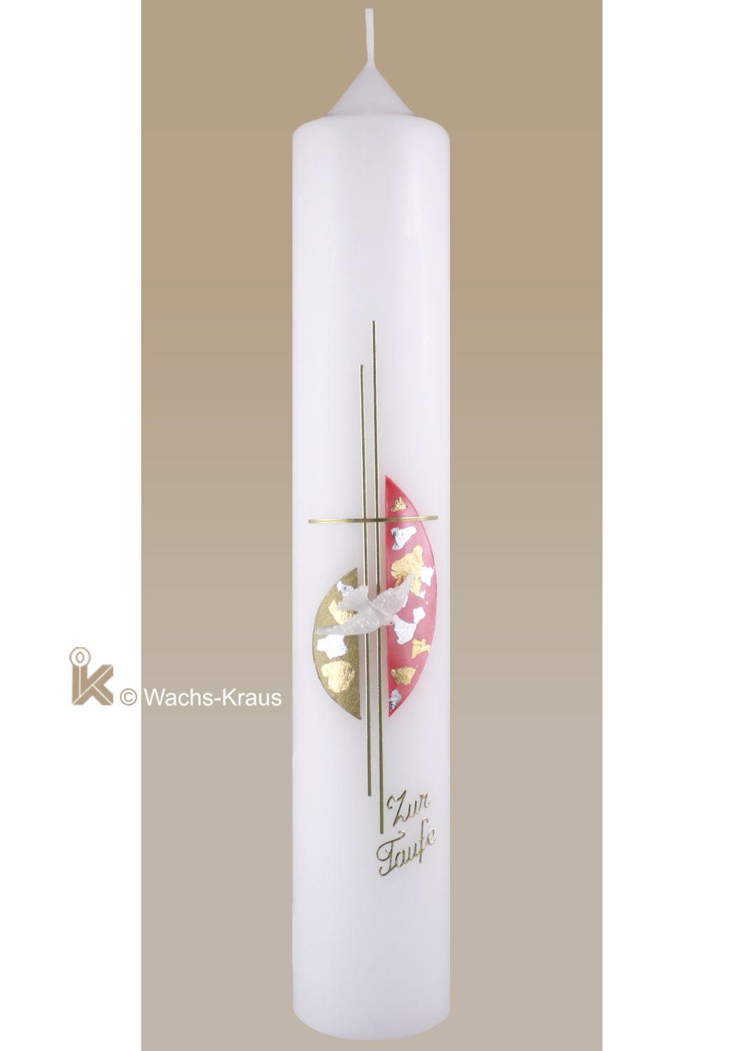 Modern gestaltete Taufkerze für Mädchen mit einem feinen doppelt gelegten Goldkreuz und der Hl. Geist Taube.