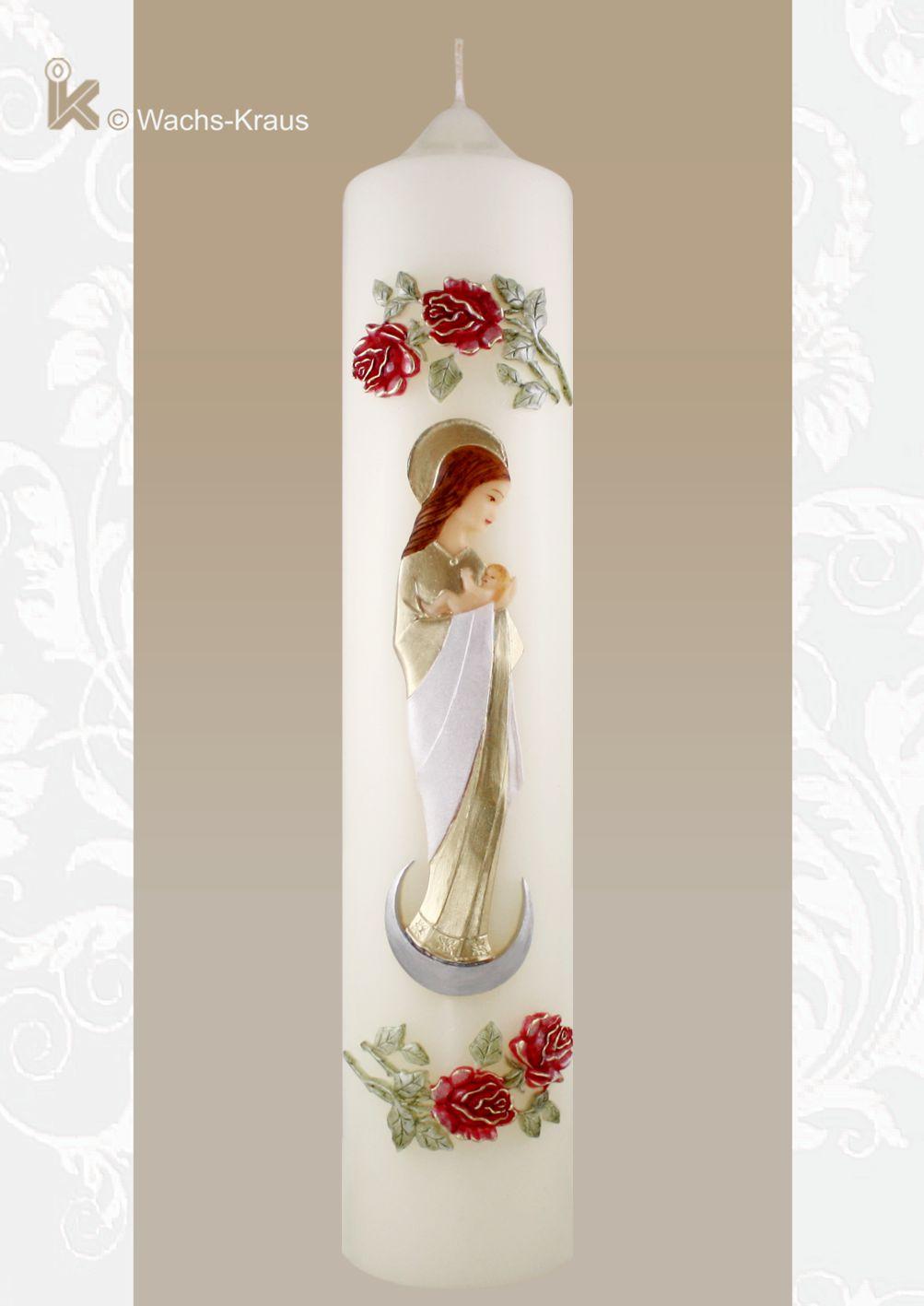 Marienkerze Mondsichelmadonna. Eine sehr aufwändig gestaltete Marienkerze mit aus Wachs gegossenen Rosen und einer sehr schönen Mondsichelmadonna.