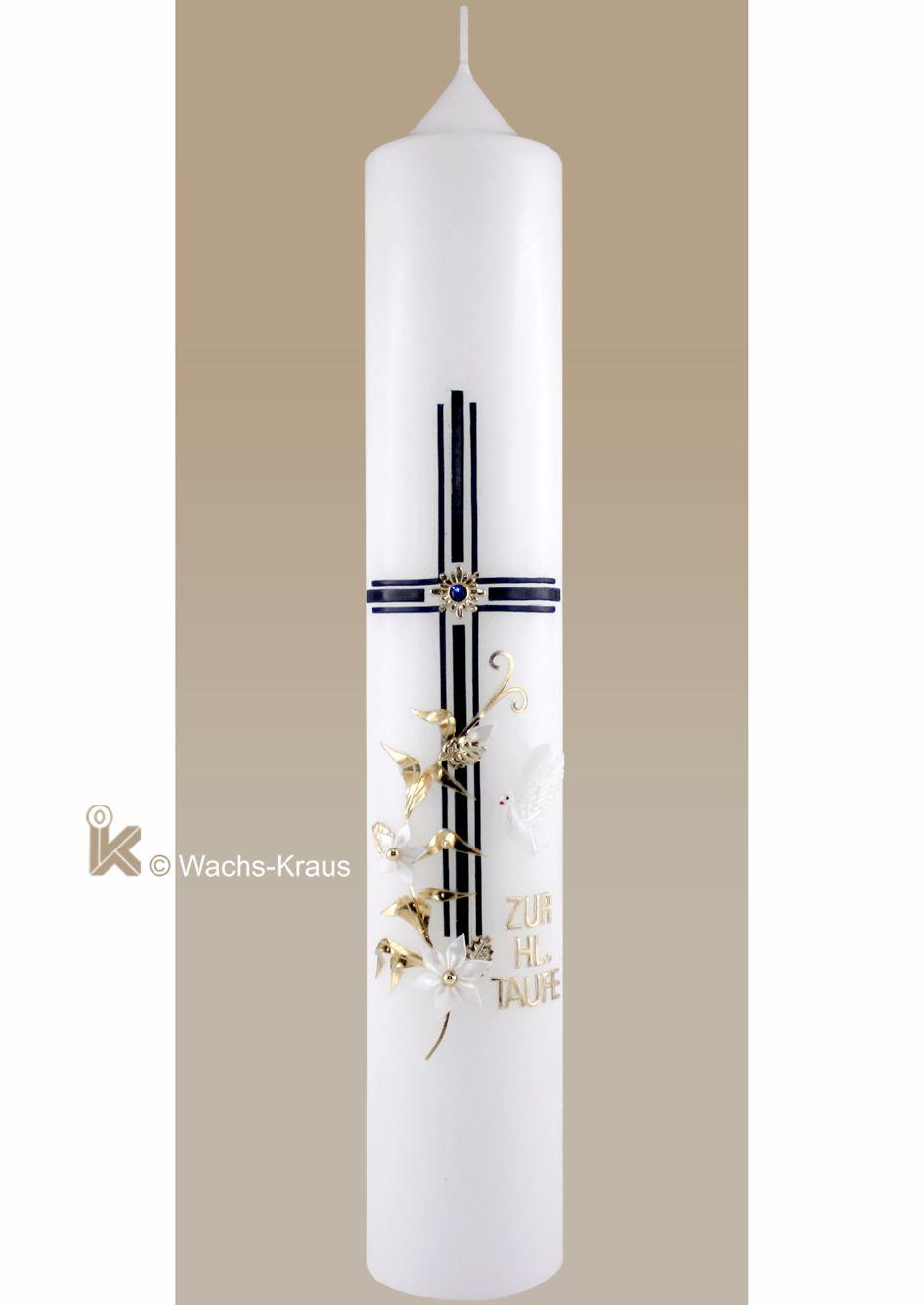 Stilvolle Taufkerze für einen Jungen. Das dreifach gelegte, dunkelblaue Kreuz eine goldene Blume, Blüte, Schriftzug: Zur HL. Taufe