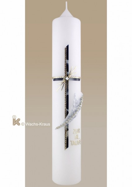 Moderne Taufkerze Kreuz blau marmoriert Wachsapplikation