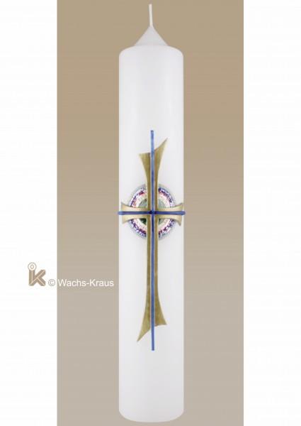 Taufkerze unisex, Gegossenes Kreuz in Regebogen-Farben unterlegt