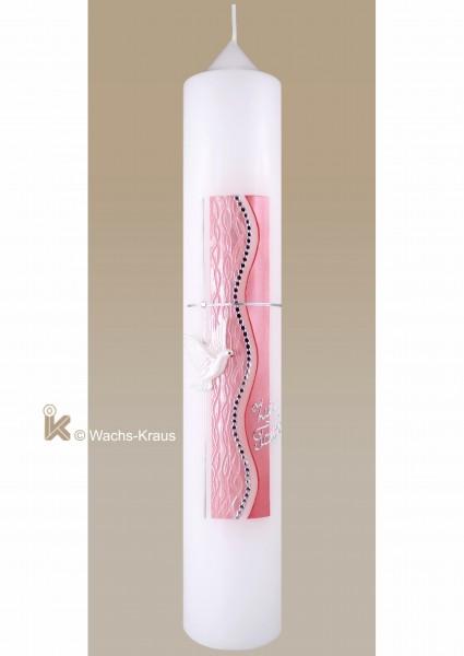 Taufkerze modern Mädchen, silber und Perlmutt-rosa, Kreuz, Taube, Strukturwachsplatte