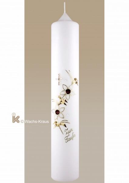 Taufkerze Junge Strasskreuz, Blumenranke