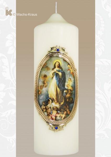 Marienkerze, Seidenbild Maria im Himmel