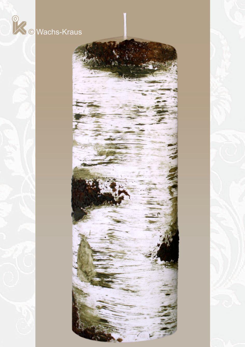 Für einen geschmückten Tisch oder den Garten: Kerze Birke groß