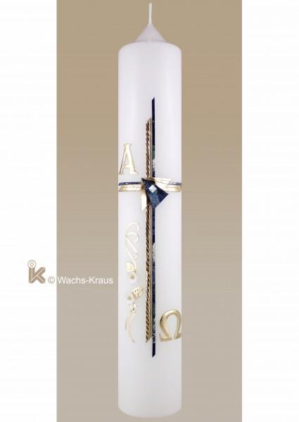 Taufkerze Junge modern, doppelt gelegtes Kreuz, blau und gold, Alpha und Omega, Ranke mit Blüten