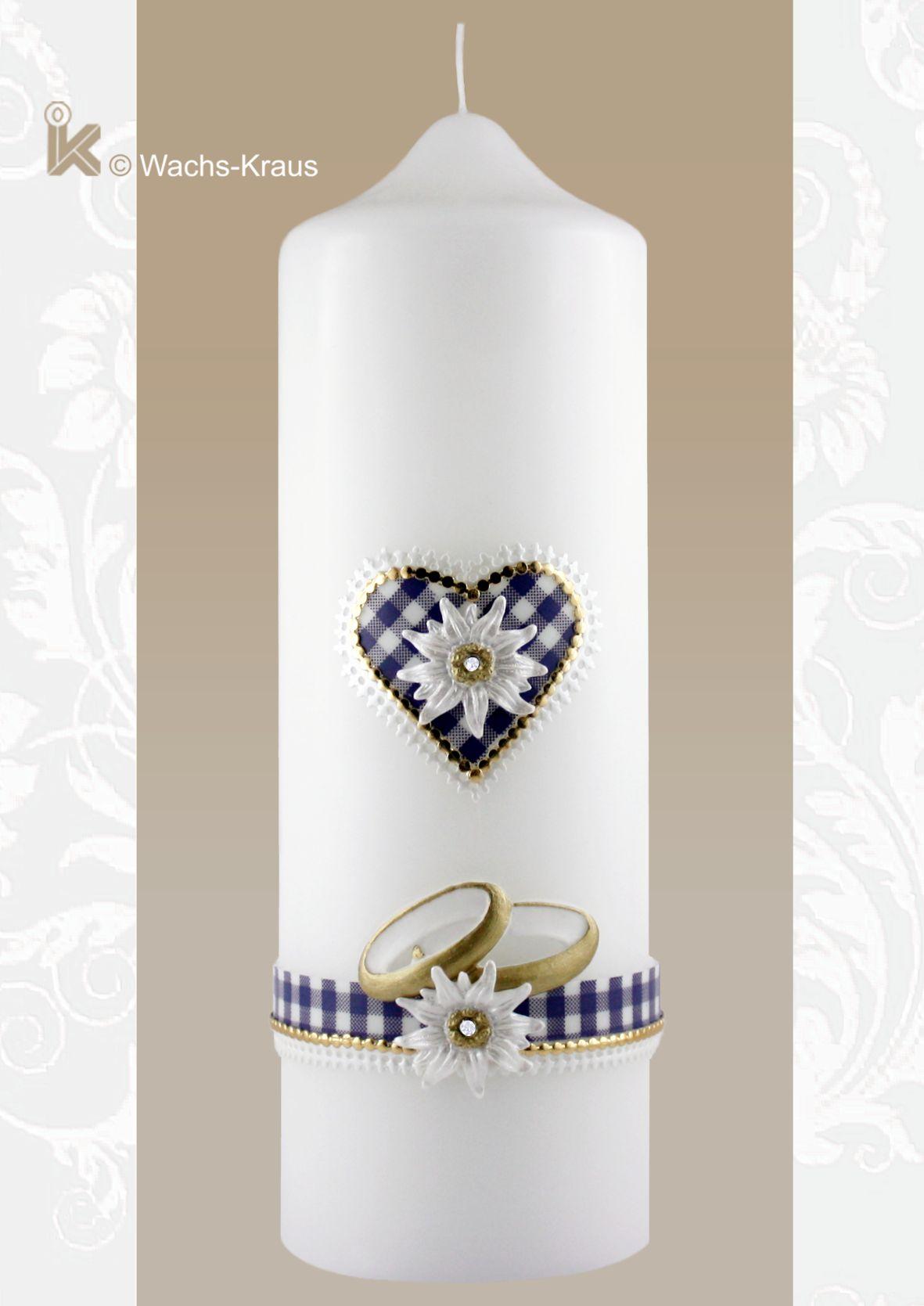 Hochzeitskerze zur Trachten-Hochzeit, blau