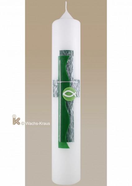 Modern gestaltete Taufkerze mit Kreuz und Fisch, grün-silber