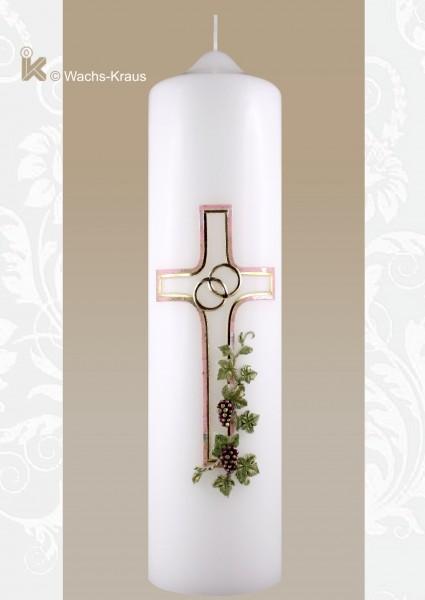 Hochzeitskerze klassisch, Kreuz und Weinrebe