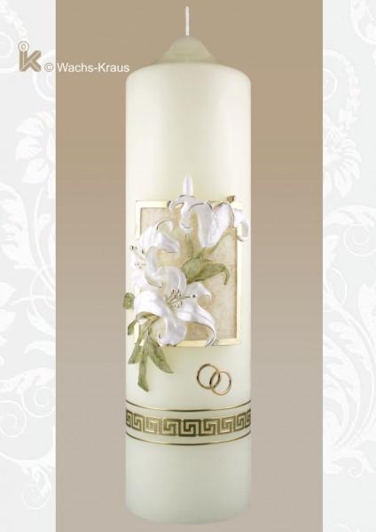 Außergewöhnliche Hochzeitskerze: Lilie modelliert aus Wachs gegossen