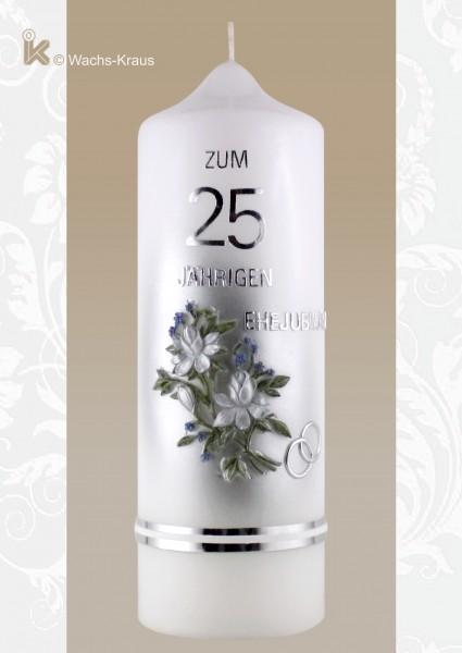 Klassische Kerze zur Silberhochzeit mit einem aus Wachs gegossenen und in reiner Handarbeit bemalten Blumenstrauß.