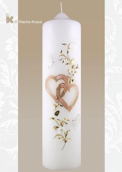 Romantische Hochzeitskerze Tauben & Herzen, apricot