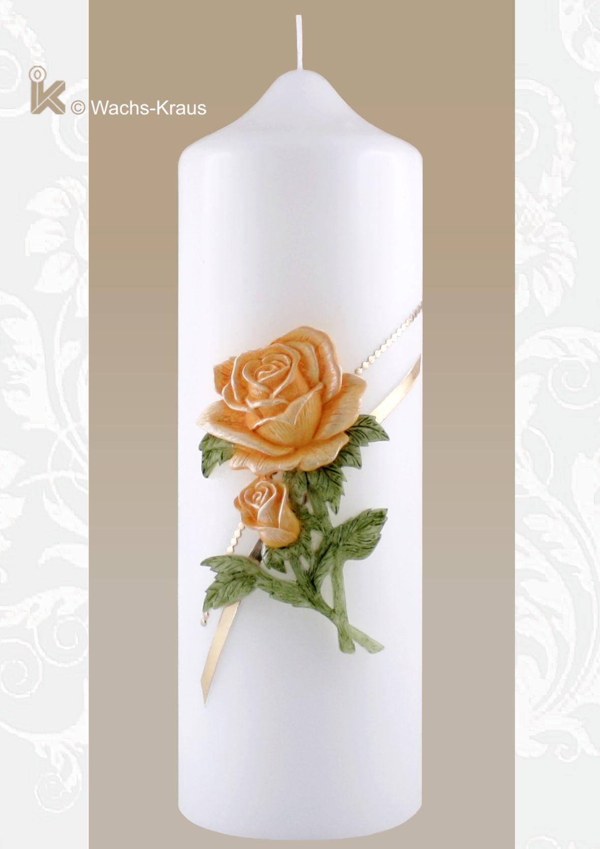 Bezaubernd schöne Hochzeitskerze Rose apricot-Farben