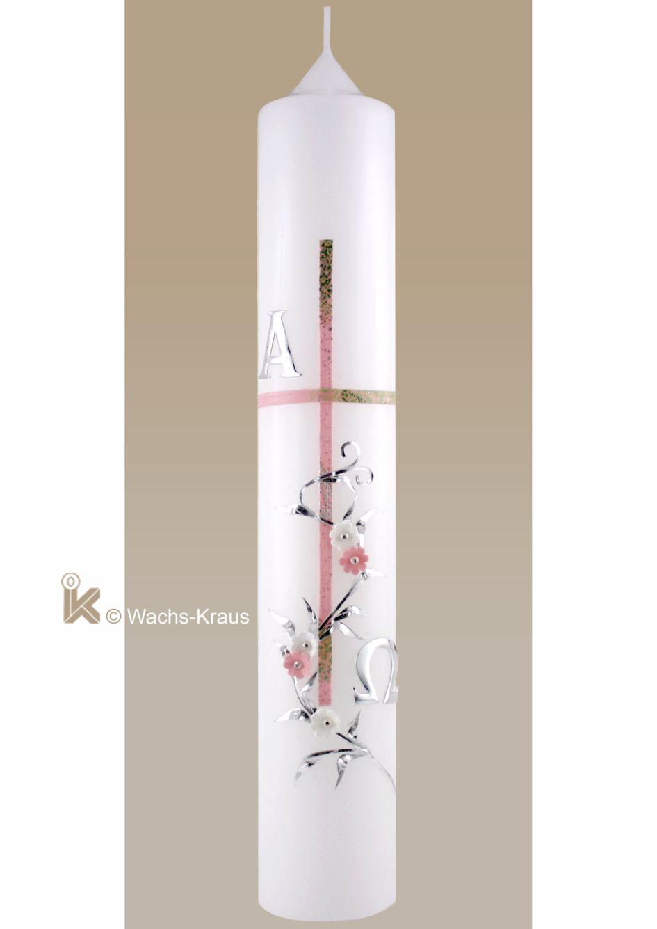 Taufkerze Vintage-Style für Mädchen. rosa-marmoriertes Kreuz, Alpha und Omega, Blumenranke mit kleinen, weißen und rosa Blüten.
