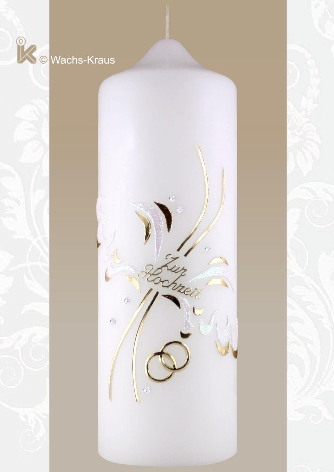 Hochzeitskerze Engelsflügel Perlmutt-weiß und gold