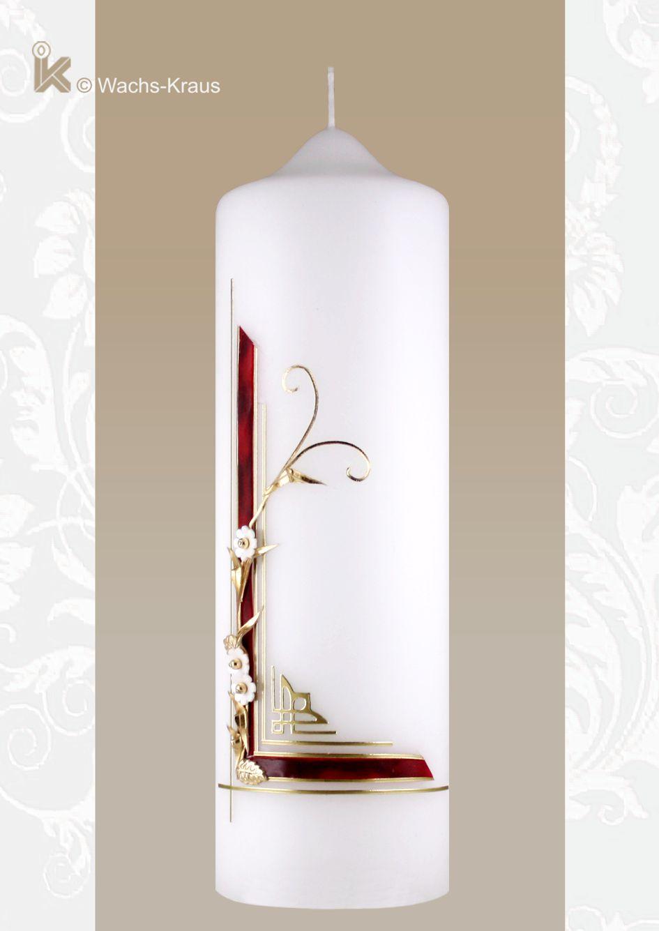 Elegant gestaltet Geburtstagskerze mit einer geflammt-roten Wachsplatte und goldfarbenen Zierstreifen, und einer Blumenranke.