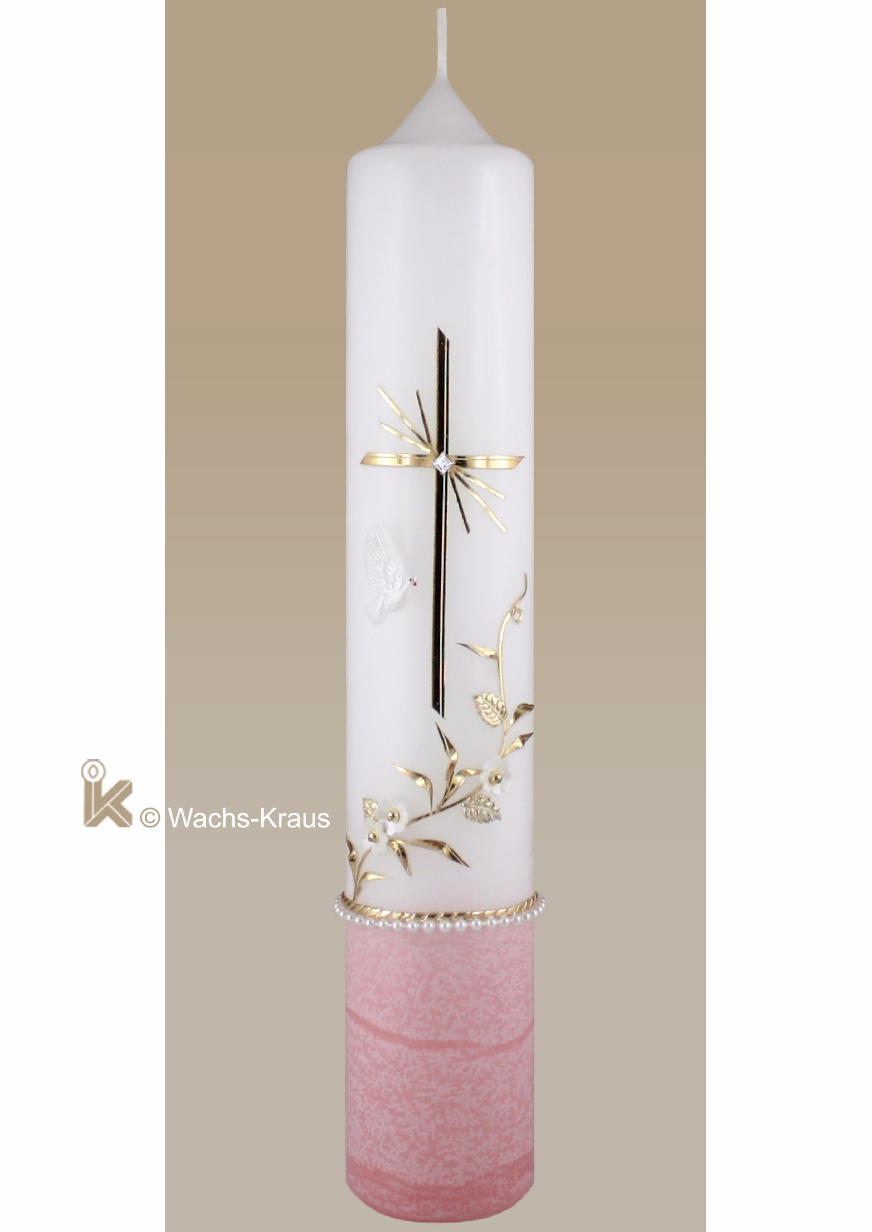 Taufkerze Mädchen oval Kreuz Schmetterlinge Blumen rosa