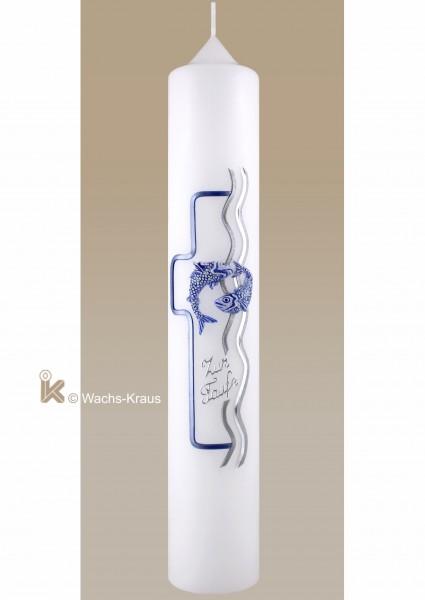 Moderne Taufkerze Fische silber-blau