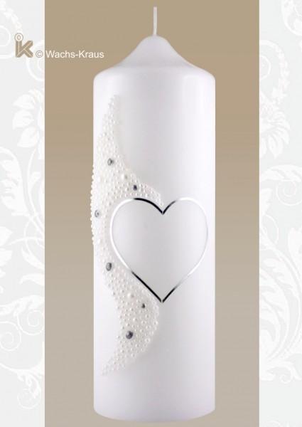 Hochzeitskerze Perlen Silhouette aus Wachs gegossen, silber