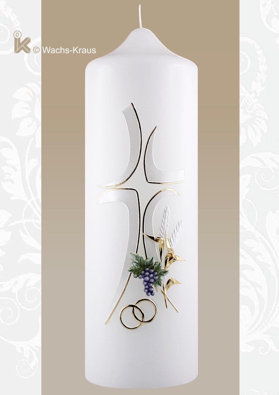 Eine wunderschöne, sehr fein verzierte Hochzeitskerze in dezentem Perlmutt-weiß und Gold mit Kreuz, gegossenen Trauben, Ähren und Ringen.