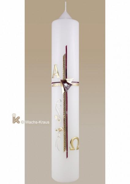 Taufkerze Mädchen modern, Kreuz rot marmoriert - gold