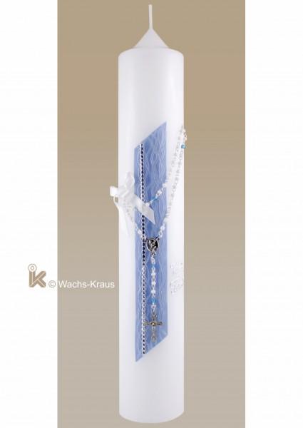 Taufkerze Junge Rosenkraunz auf Strukturwachsplatter Perlmutt-blau