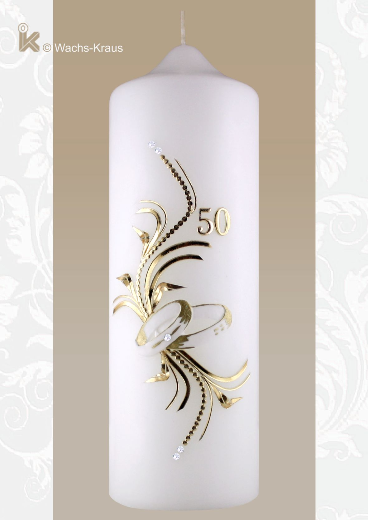 Dem Anlass entsprechend: wunderschöne Kerze zur Goldenen Hochzeit