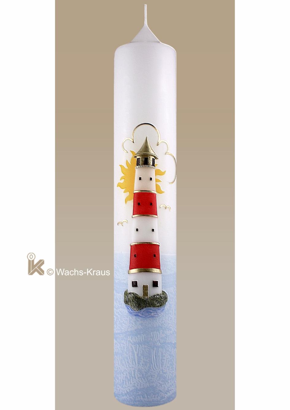 Tolle Taufkerze mit einem aus Wachs gegossenen Leuchtturm. Der Leuchtturm weist den Weg, gibt die Richtung vor, wie der Glaube.