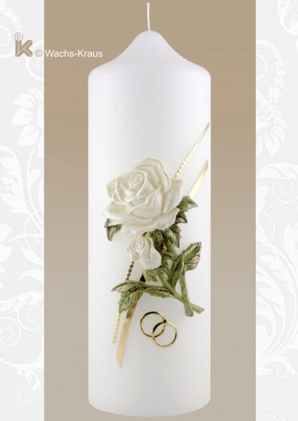 Bezaubernd schöne Hochzeitskerze, gegossene Rose