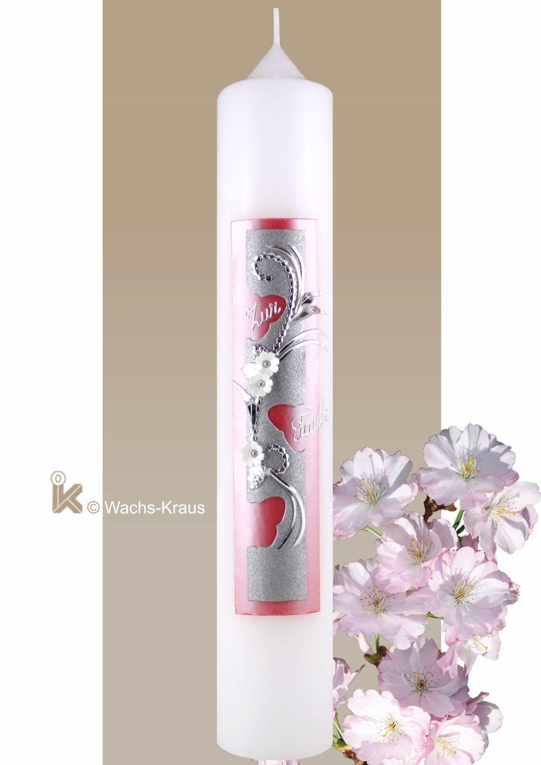 Taufkerze Schmetterling, Mädchen silber-rosa