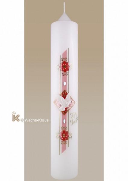 Moderne Taufkerze für Mädchen, Perlmutt rosa-gold mit Strasssteinen