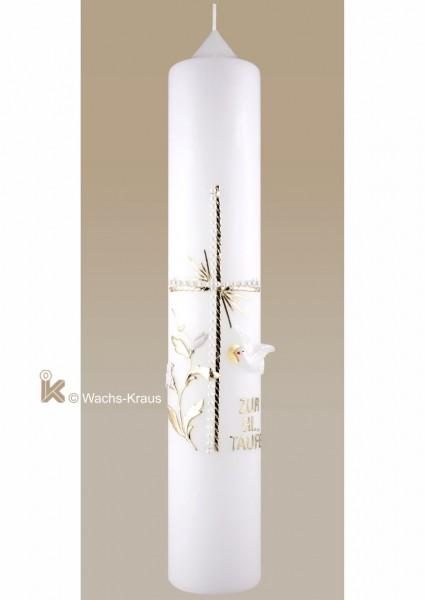 Taufkerze neutral weiß-gold mit Kreuz, Taube und Schriftzug verziert