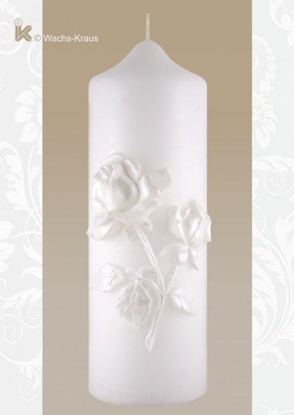 Zierkerze weiße Rose. Diese Kerze passt zu jedem Stil