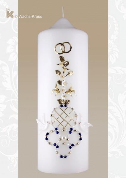 Hochzeitskerze Perlen weiß, blau und gold, Vintage