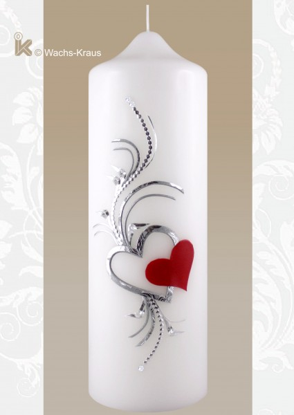 Kerze zur Trauung silber und rot